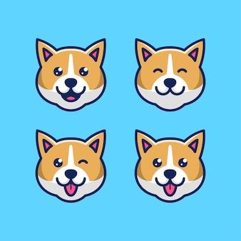 Набор милая собака голова значок иллюстрации шаржа с различными выражениями лица