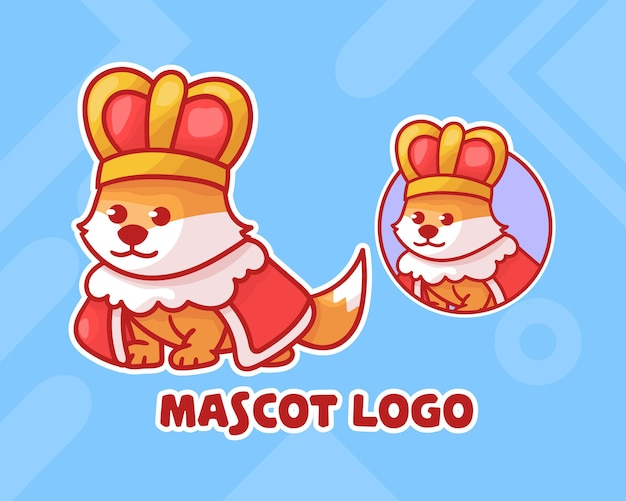 Set of cute dog king mascot logo