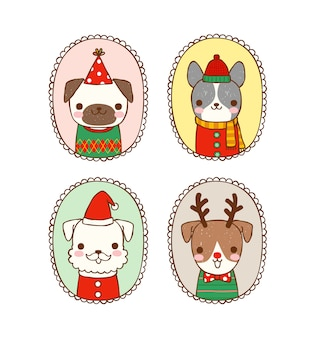 Set of cute dogs in christmas costume with vintage frames