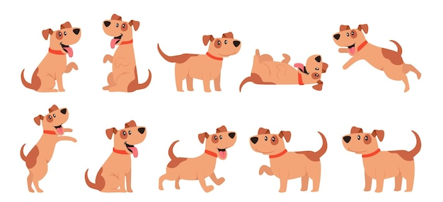 Set of cute dogs, pets, domestic animals walking, sitting, jumping, giving paw. funny cartoon characters, joyful brown puppy in different poses isolated on white background. vector illustration, icons