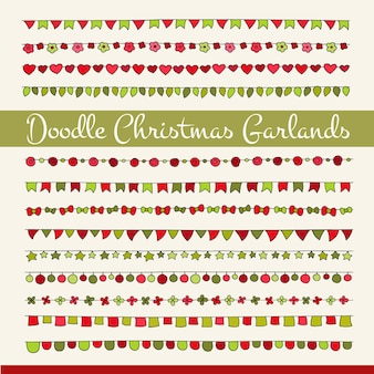 Set of cute doodle christmas flags for your designs (birthday party, new year celebration).