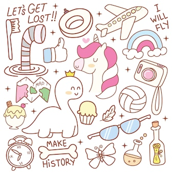 Set of cute doodle elements