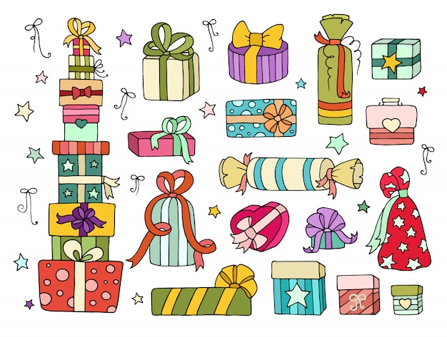 Set of cute doodle gifts boxes