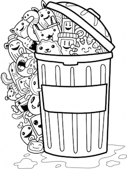 Set of cute doodle monsters and garbage can