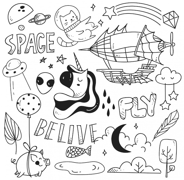 Set of cute doodle for print and pattern