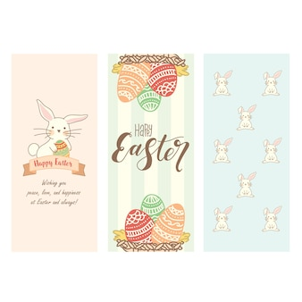 Set of cute easter bunnies and eggs