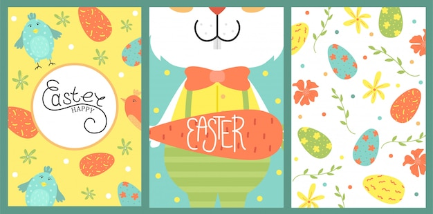 Set of cute  easter card. easter eggs, spring holiday. greeting card