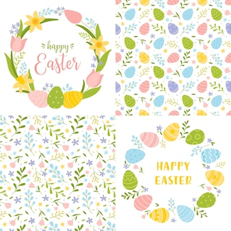 Set of cute easter cards and seamless patterns