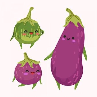 Set of cute eggplant   illustration