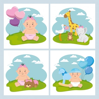 Set cute elements of baby shower