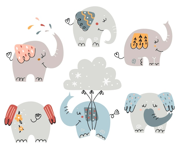 Set of cute elephants for kids.  illustration for greeting cards, baby invitations and t-shirts