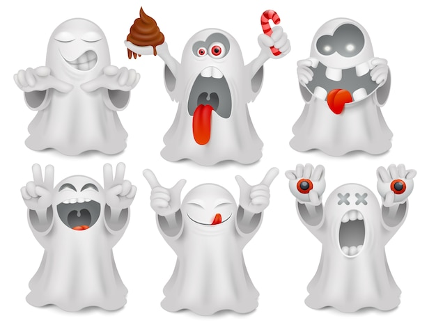 Set of cute emoticon cartoon ghost characters.