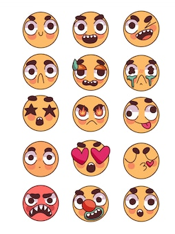 Set of cute emoticons doodle
