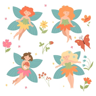 Set of cute fairies isolated on white