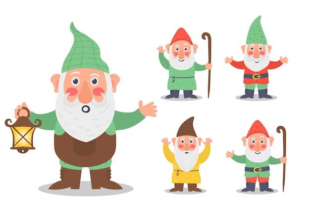 Набор милых сказочных персонажей садовых гномов-гномов, держащих фонарь, баннер, лейку для грибов