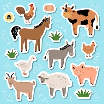 Set of cute farm animals stickers