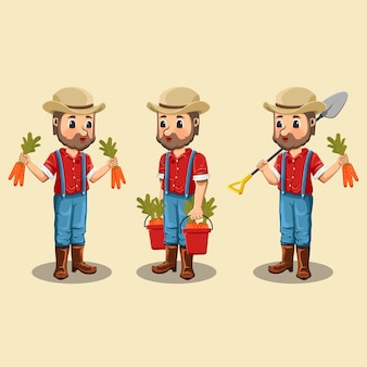 Set of cute farmers with illustrations of agricultural tools and produce