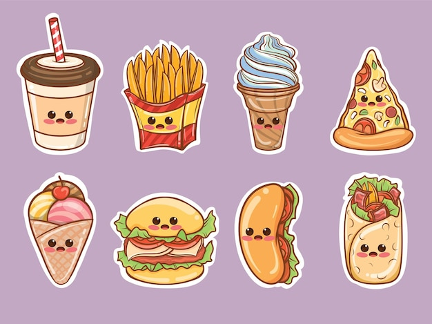 Set of cute fast food cartoon stickers
