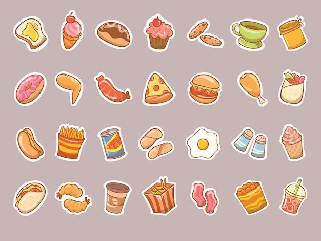 Set of cute fast food doodle sticker