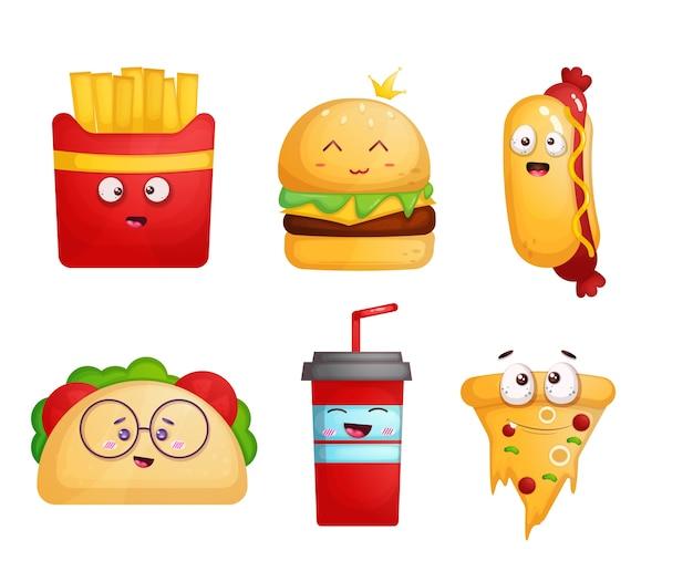 Set of cute fast food mascot cartoon character