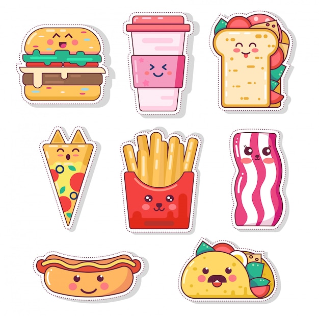 Set of cute fast food poster design with kawaii junk character cartoon