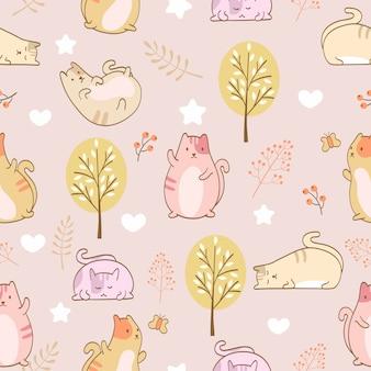 Set of a cute fat cats seamless pattern