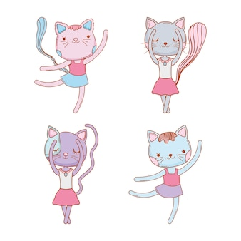Set cute female cat animal