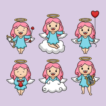 Set of cute female love angel