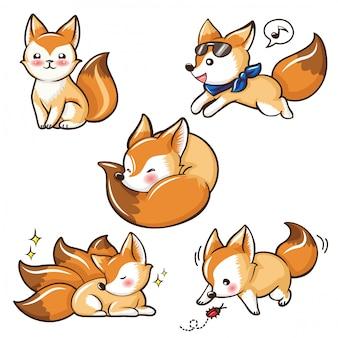 Set cute fennec fox cartoonchocolate mousse