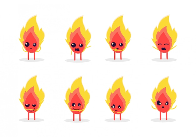 Set of cute fire characters