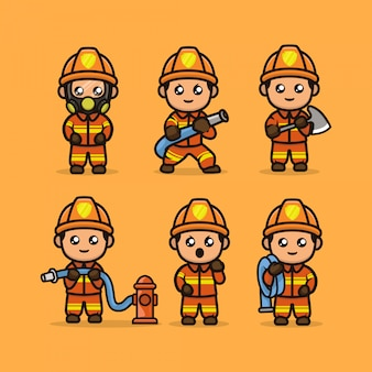 Set of cute firefighter mascot design illustration