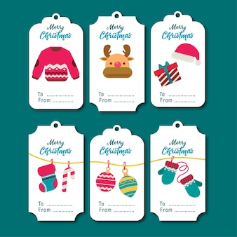 Set of cute flat illustration tags or labels cartoon style