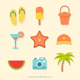 Set of cute flat trip and summer elements