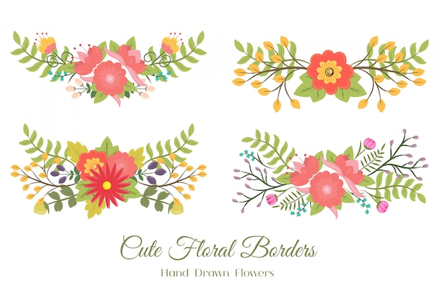 Set of cute floral borders