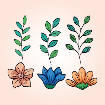 Set of cute flowers with branches and leafs