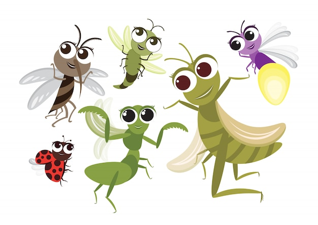 Set of cute flying insects cartoon character