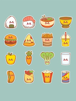 Set of cute food cartoon character sticker