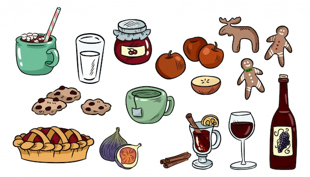 Set of cute food doodles. hygge food stickers for planners and notebooks.