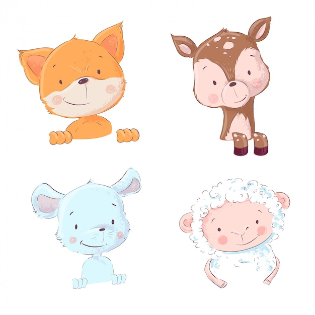 Set of cute forest and home animals - sheep and chanterelle, mouse and deer