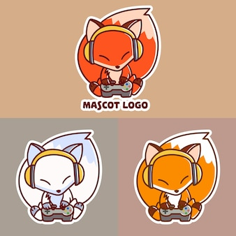 Set of cute fox play game mascot logo with optional apprearance.