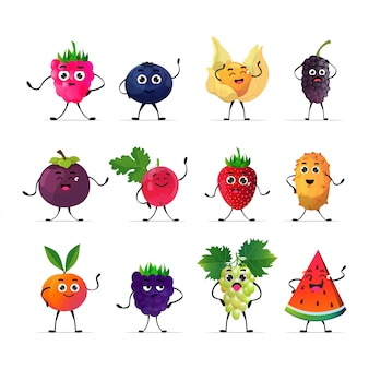 Set cute fresh juicy characters tasty ripe berry fruits mascot personages collection isolated on white background healthy food concept
