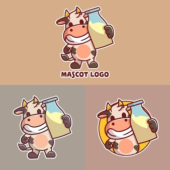Set of cute fresh milk mascot logo