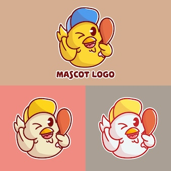 Set of cute fried chicken mascot logo with optional apprearance