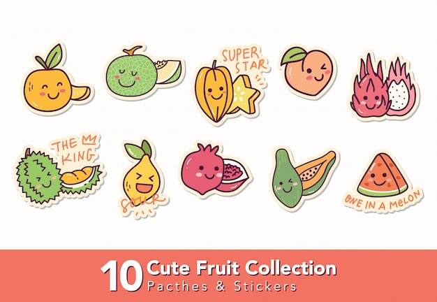 Set of cute fruit patches and sticker