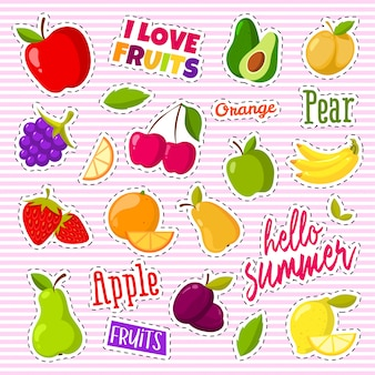 Set of cute fruits in the form of a retro patches