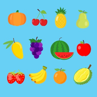 Set of cute fruits icon