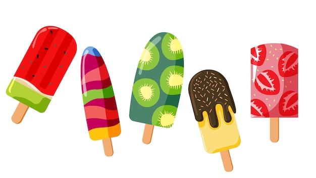 Set of cute fruity ice cream