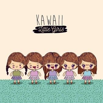 Set cute full body kawaii little girls