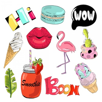 Set of cute and fun summer stickers.