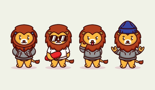 Set of cute funky hipster lion